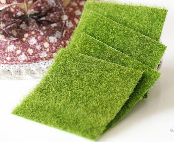 2 pz (15 * 15 cm) Simulazione falso prato fairy garden miniature Erba muschio micro paesaggio bottiglia ecologia home decor