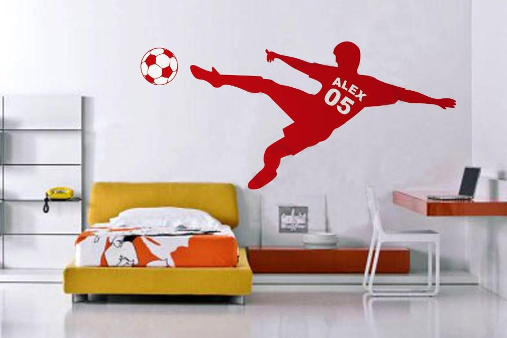 Football Soccer Ball Vinyl Wall Decals Removable Personalized Name & Number Poster Art Wall Stickers for Kids Rooms Decoration