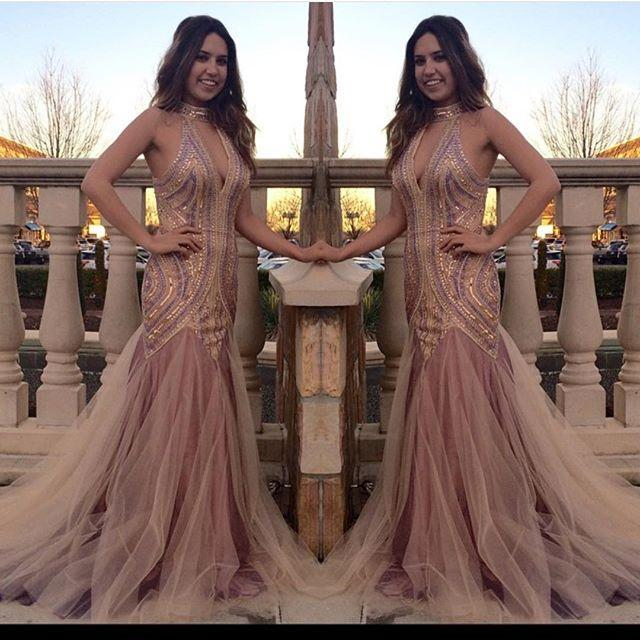 Cheap Shining Mermaid Sheer Sleeveless Evening Gowns 2016 Lace Appliques Open Back Sequin Prom Dresses Pageant Gowns