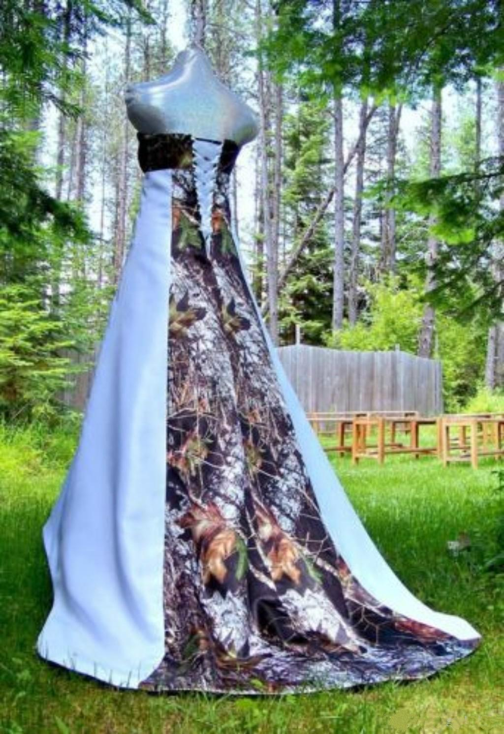White Camo Wedding Dresses Strapless Lace-up with Forest Chapel Train Unique Modest 2015 Bridal Gowns Actual Image Camouflage Bride Dress