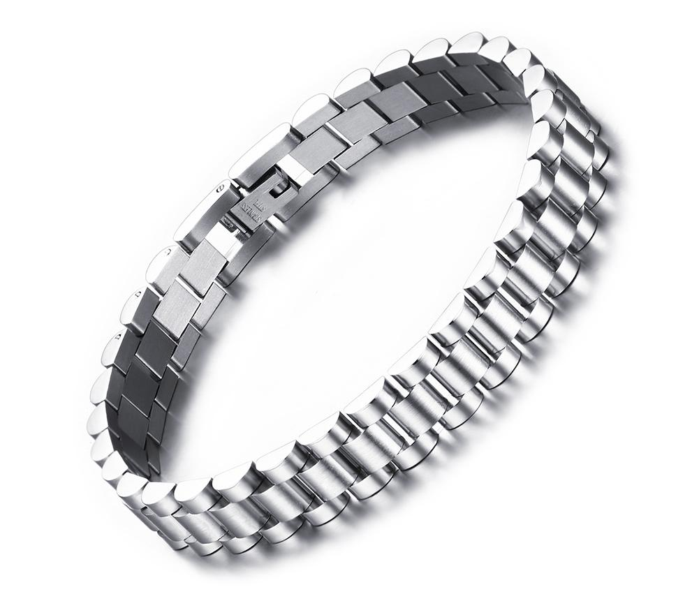 """8.7"""" Men's Stainless Steel 10mm Silver Watch Band Link Chain Bracelet Classic"""