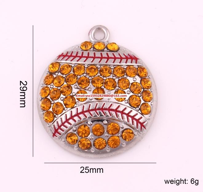 送料無料10ピース輝く黄色のクリスタル野球またはソフトボールスポーツペンダントと輝くロジウムめっき亜鉛合金