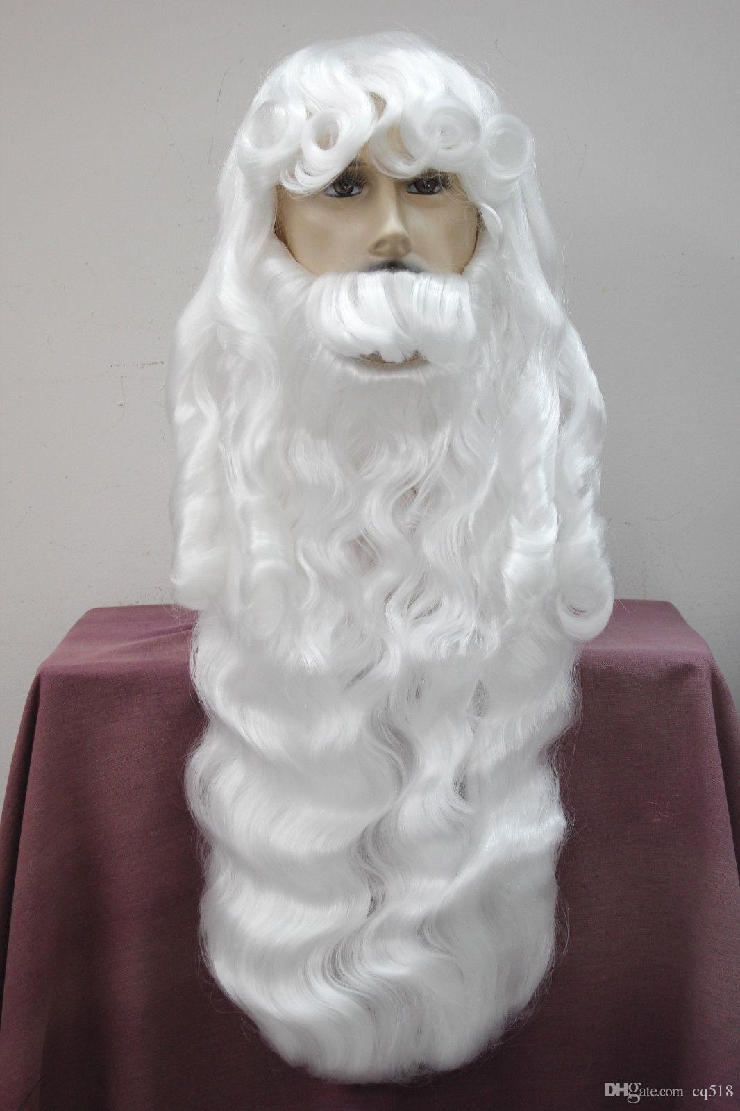 Оптовая бесплатная доставка Здоровье очаровательный Рождество дедушка Рождество белый парик укладка