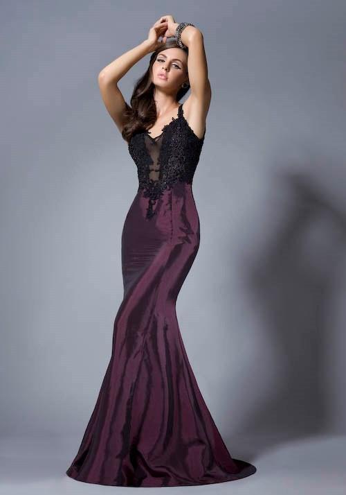 Фиолетовый сексуальные платья выпускного вечера Русалка стиль спагетти аппликация кружева длина пола назад Sheer тюль платья партии Vestidos де Novia вечерние платья