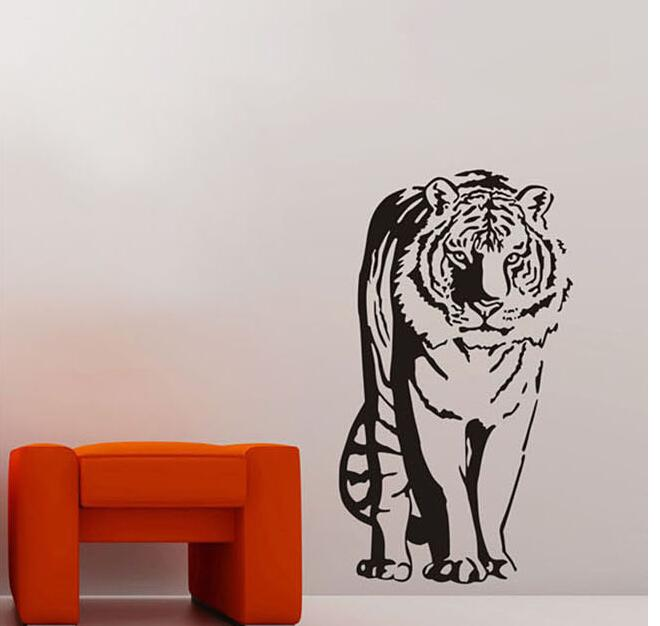 Removeble Vinyl Jungle Animals Wall Decals Sitting Tiger Wall Decals