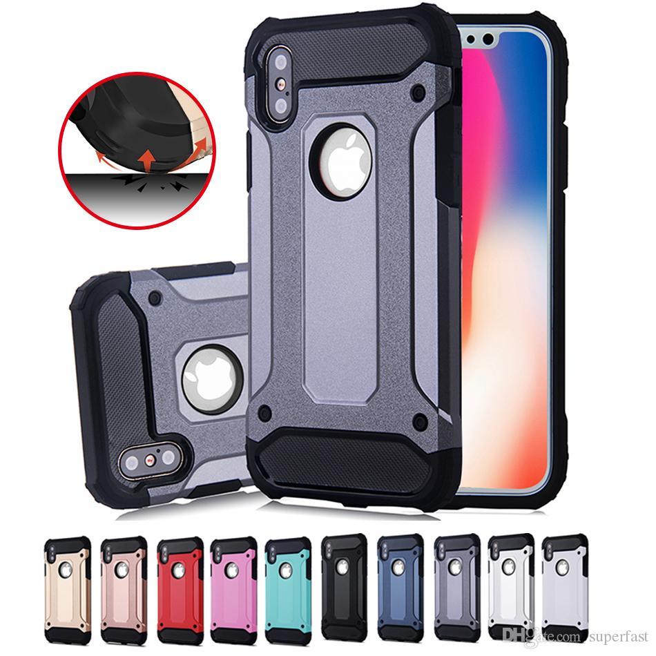 Opp Çanta ile iPhone 11 Pro Max X 8 Zırh Vaka Hibrid Üstün Sert PC Ve Kauçuk Bırak Direnç Arka Kapak Kılıf için Samsung S20 Not 10 için