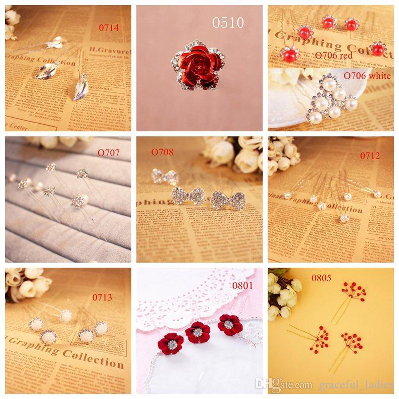 12pcs Cute Hair Pins U-shape Bridal Hair Accessories Crystals Babypins Handmade High Quality Rhinestones Flowers Faux Pearls Headwear