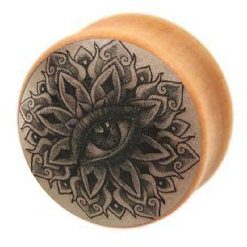 ماندالا العين شعار الخشب الأذن المقابس والأنفاق هيئة المجوهرات تمتد اللحم الأنفاق 6-16 ملليمتر ثقب الأذن المتوسع
