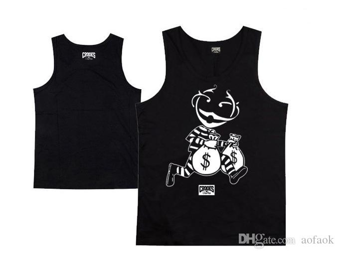 Hot sale new Crooks and Castles tank top fashion mens hip hop sport vest sleeveless 100% cotton clothing male pullover single for summer