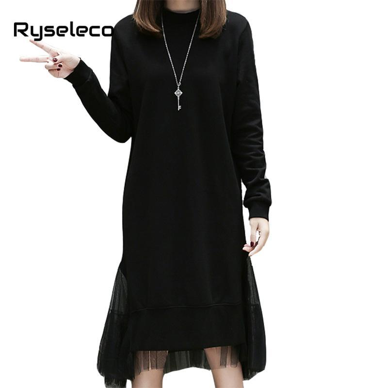 x201711 2017 invierno más el tamaño del vestido de las mujeres de manga larga negro dobladillo irregular mesh patchwork vestido midi femenino ocasional flojo de gran tamaño dress