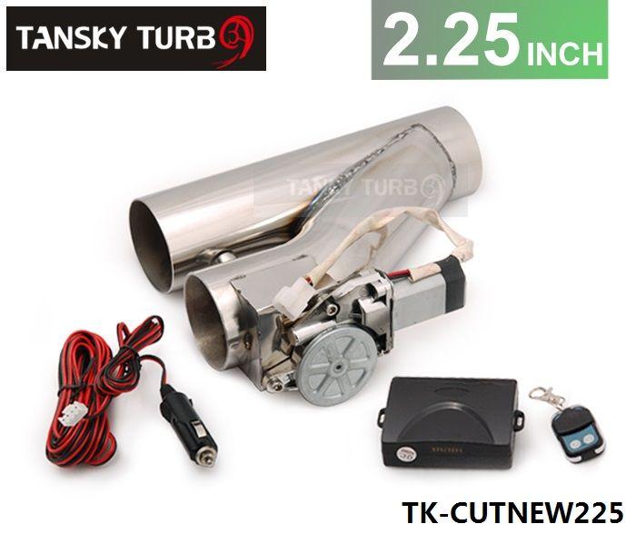 """タンクス - 高品質ユニバーサルJDM 2.25 """"電気排気キャットバックダウンパイプEカットアウトバイパスバルブキット+リモートTK-CUTNEW225"""