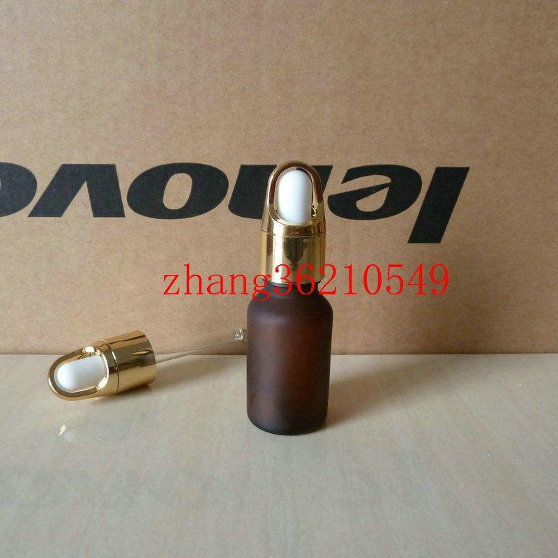 갈색 / 호박색 젖빛 유리 에센셜 오일 병 15ml 알루미늄 바구니 빛나는 골드 dropper cap. 오일 바이알, 에센셜 오일 팩