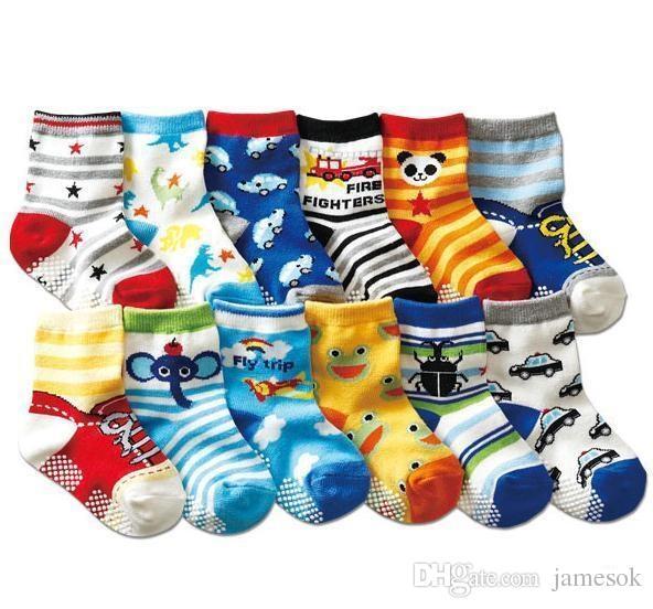 12 estilo de algodão Meias bebê meias de borracha antiderrapante piso de borracha dos desenhos animados meias criança pequena 1--3 bebê b901
