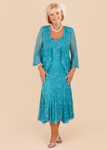 New Elegant Turquoise Plus Size Mother Of The Bride Lace Dresses 2018 Tea  Length Wedding Party Gowns With Long Sleeves Jacket Mothers Bride Dress ...