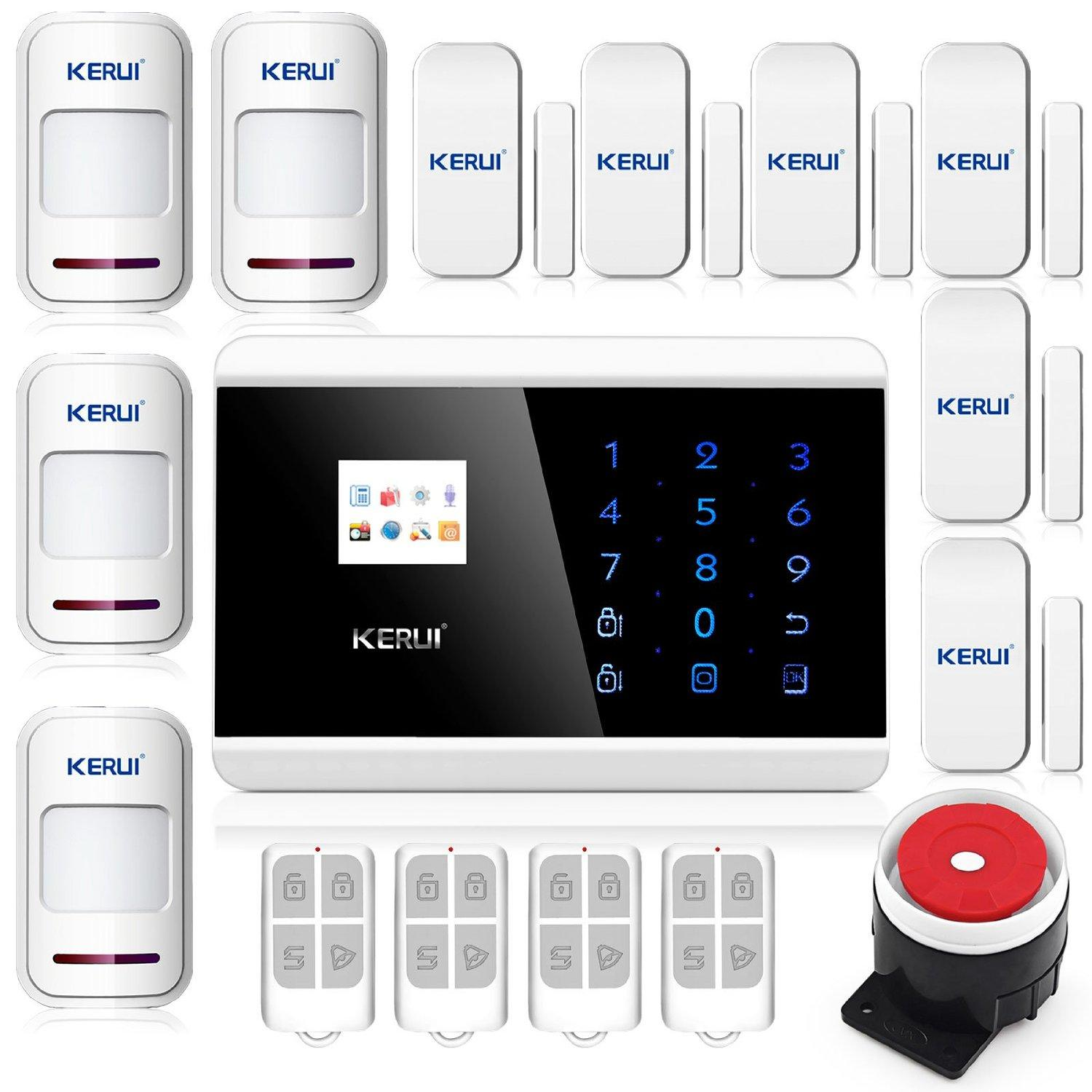 2016 New KERUI Wireless Touch Keypad TFT Color Display Gsm Pstn Home Security System Alarm Kits Siren for Smart Android App Kr-8218g