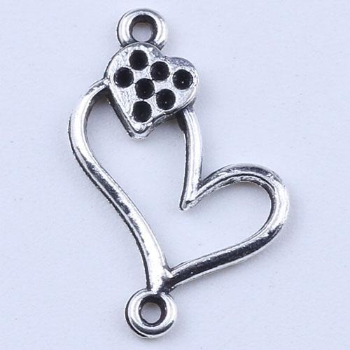 Pendentifs double amour fit collier ou bracelets BRICOLAGE bijoux antique argent / charmes de bronze 1200pcs / lot 1946z