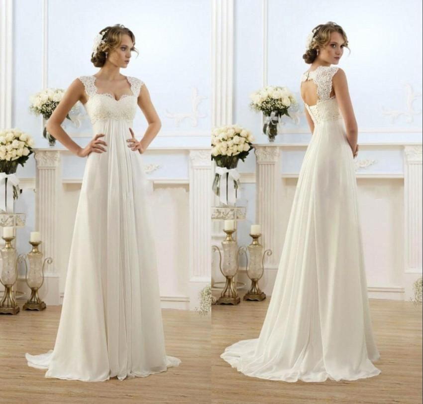 Romantic Sexy Beach Wedding Dresses Chiffon Floor Length Keyhole Back  Empire Waist Elegant Ball Gowns With d0ce05a38d1a