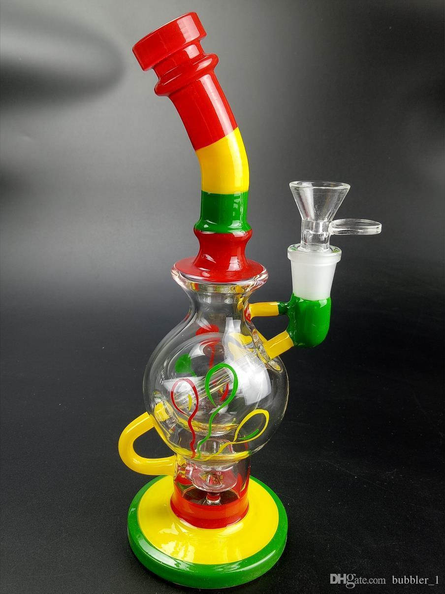 """Bangs en verre colorés 9.4 """"pouces hauteur Rigs de pétrole avec 14.5mm tuyaux d'eau commune"""