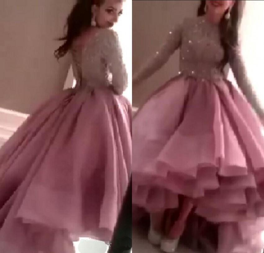 Robes de soirée à manches longues véritables Myriam Fares dentelle perlée haute basse longue robes de soirée 2015 Robe De soirée Sexy robes de soirée Dhyz 02