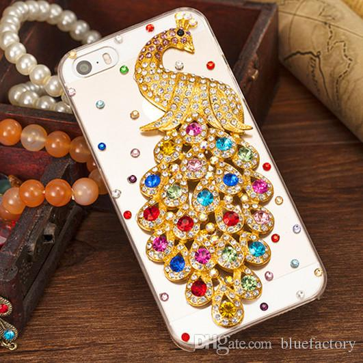 For iphone 7 plus Transparent Crystal Peacock Hard Colorful Diamante Phone Cases Rhinestone Bling Cell Phone back cover for iphone 6s 5s