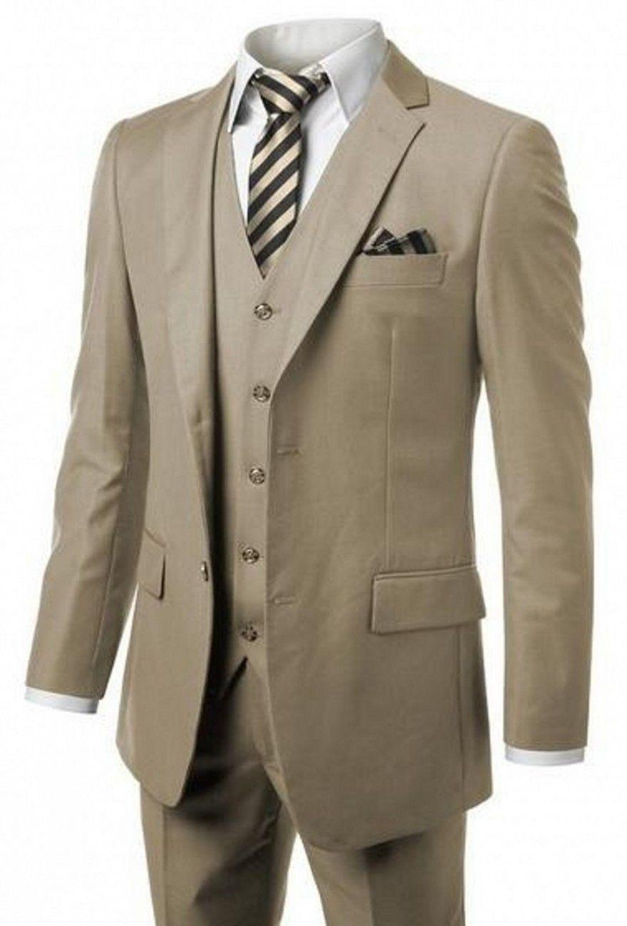 Custom Made Two Button Khaki Bruidegom Tuxedos Notch Revers GroomsMen Mens Bruiloft Prom Suits (jas + Broek + Vest + Tie) H296
