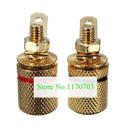 Plugues de banhado a ouro conector de banana de conector de amplificador de 50 pcs