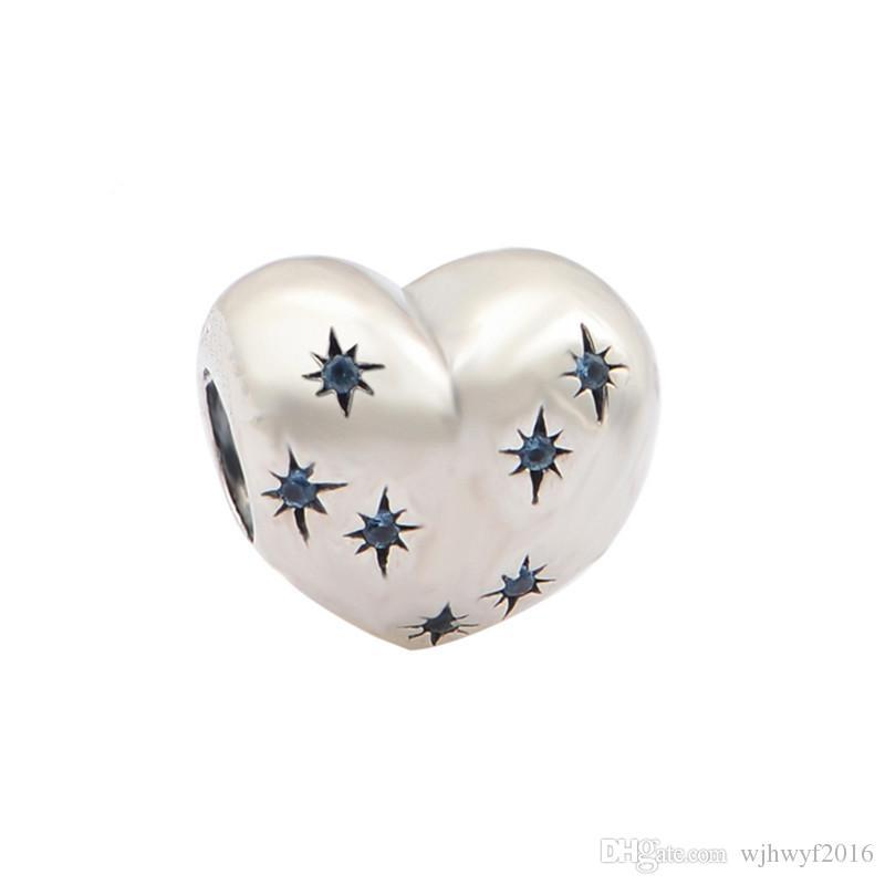 Otantik 925 Gümüş Güzel Takı Külkedisi Kalp Charm Boncuk Kadınlar Için Fantezi Açık Mavi Kristal Ile Charm Bilezikler DIY Uyar