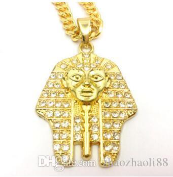 14 K Ouro Faraó Egípcio pingente de diamante de água hip-hop tendência homens e mulheres colar