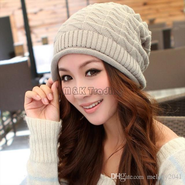 Winter White Ivory Thick Slouchy Knit Oversized Beanie Cap Hat Diamond Checked Weave Hats 4 Colors 20pcs