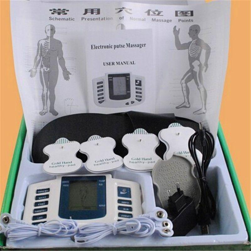 JR309 Électrique Stimulateur Corps Complet Relax Muscle Thérapie Masseur Electro Pulse TENS Acupuncture + 4 pcs