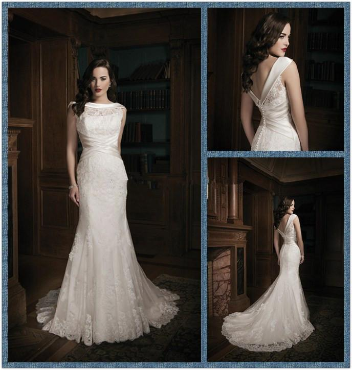 2015 Custom Made White/Ivory Bateau Neckline Mermaid Style With Backless Lace Applique Wedding Dress WD20150128014