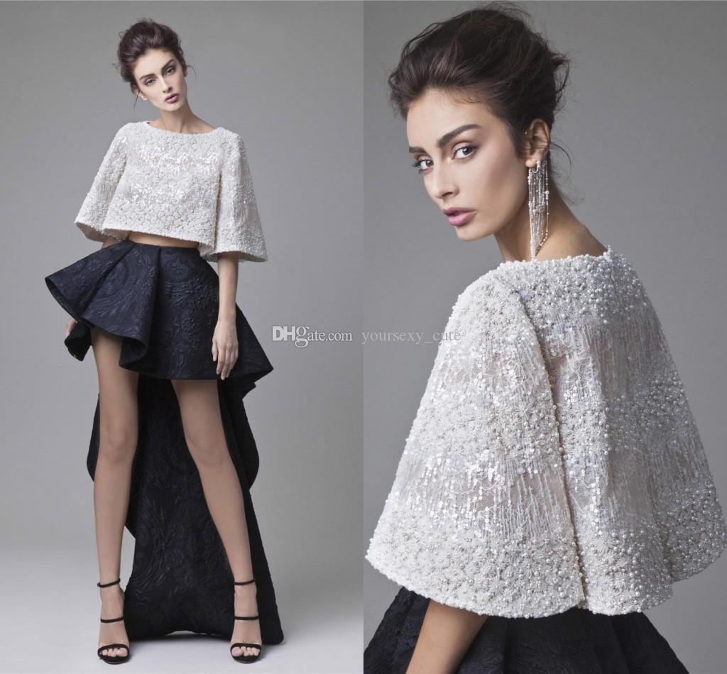 Fashion Krikor Jabotian Two Piece Prom Dresses White Black Short Party Dresses Special Occasion Hi Lo Lace Cocktail Dresses With Jacket