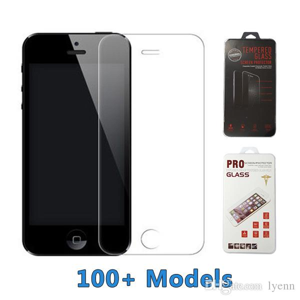 For iPhone 8 Stale quality Tempered Glass 9H Screen Protector Galaxy C7 ON5 J7 2016 Huawei G7 Vivo Xiaomi with Retail Package