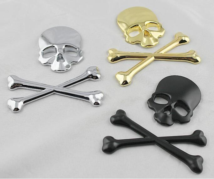 Crossbones Skull Demon Metal Bone sticker Badge Decal adesivi per auto emblema porta etichetta Per Jeep SUV Harley Honda Yamaha Toyota