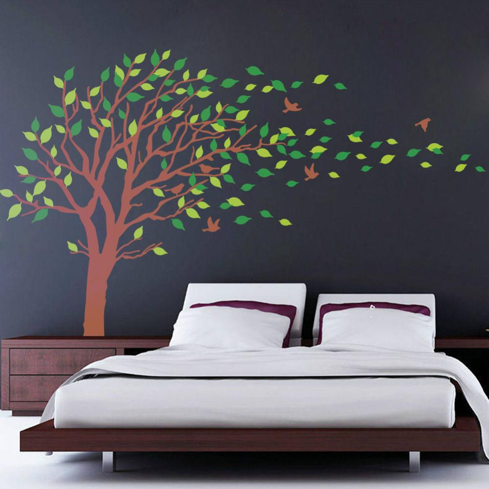 Bedroom wall art trees - Blowing Tree Wall Decal Bedroom Wall Decals Wall Sticker Vinyl Art Wall Design 8337 Wall Art Stickers Uk Wall Art Tree Decal From Wwwonccc