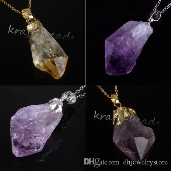 Wholesale 10Pcs Charms Silver/Gold Plated Natural Amethyst Yellow Quartz Crystal Gemstone Random Shape Pendant Necklace Jewelry