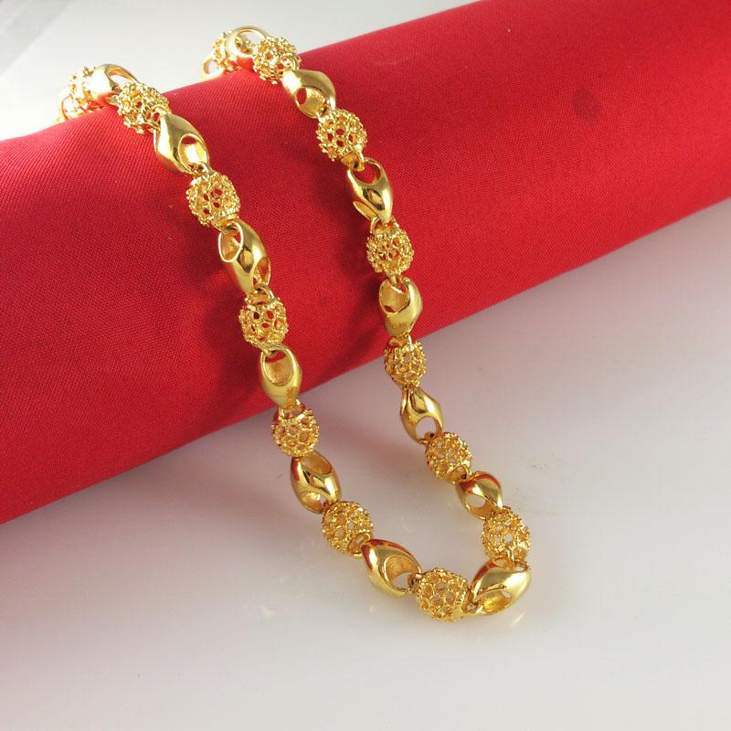 """Wholesale Men's 18k yellow gold filled necklace 24""""Figaro chain 6.5mm wide 30g Men's GF Jewelry"""