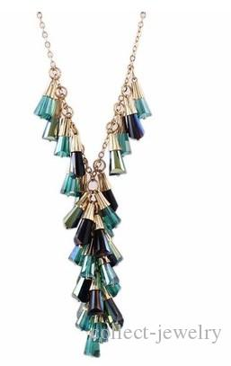 blue diamond tring pendant(1.3*1cm) lady's necklace (66+extra 5cm) (400-cn)
