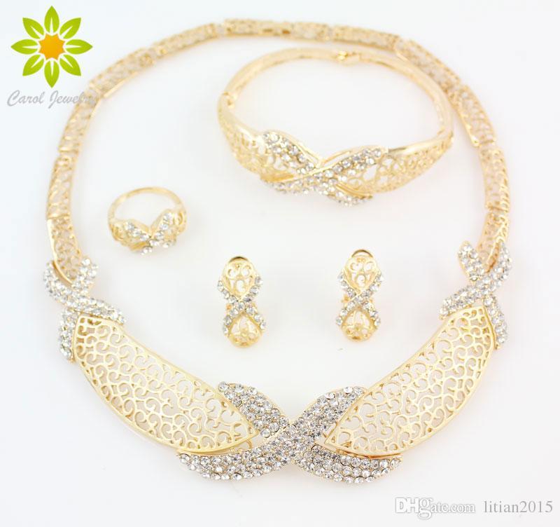Novos Encantos Venda Quente Moda Nova Chegada Fato Africano Mulheres Casamento 18K Gold Banhado Jóias De Cristal Frete Grátis