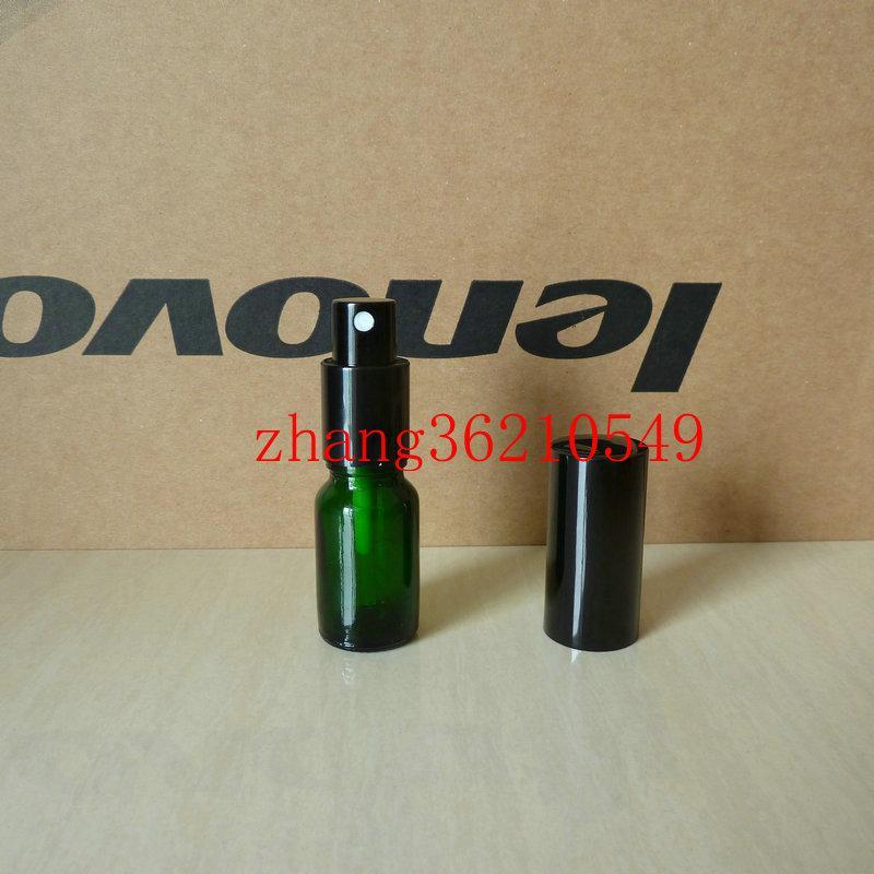 10ml 녹색 유리 향수 병 알루미늄 반짝이 검은 안개 분무기. 향수 분무기 병 용기