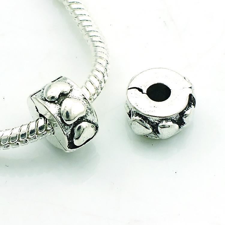 Moda Metal Boncuk Antik Gümüş Kaplama Kalp Toka Gevşek Boncuk DIY Avrupa Marka Bilezikler Aksesuarları Takı