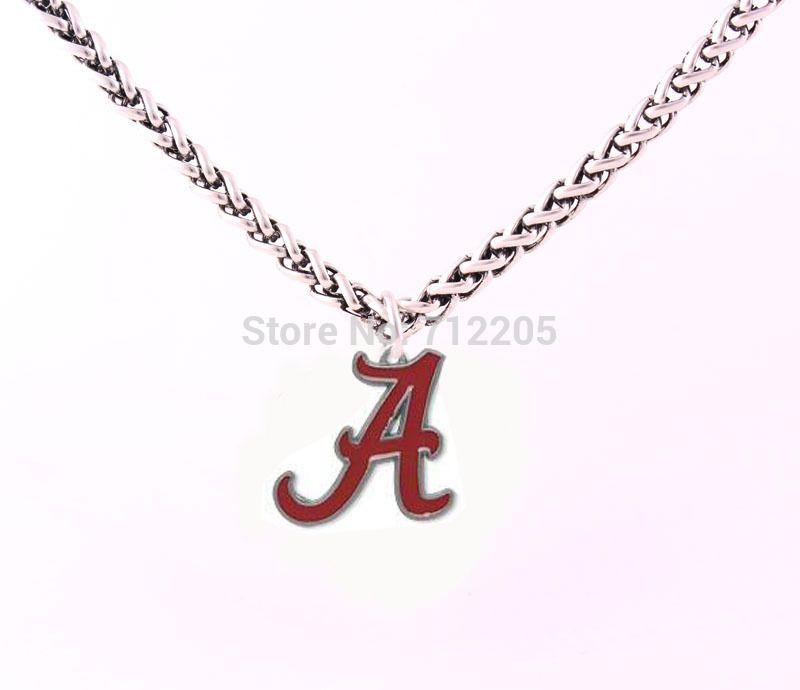 Émail simple face Alabama Crimson Tide colliers de chaîne logo Livraison gratuite Bracelet chaîne du blé Lien avec grand collier de fermoir