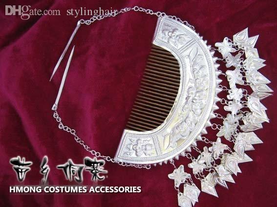 All'ingrosso-cinese folk Hmong Dong gioielli fatti a mano Miao Yin classico inserito pettine farfalla nappa capelli-indossare costumi antichi accessori