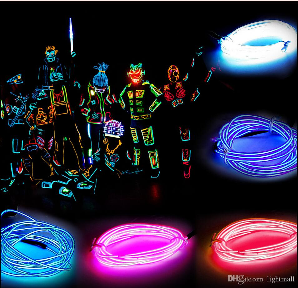 2M Flexible Neon Light Glow EL Wire Rope Strobe Light For Bar Car Dance Party 8 Colors with Controller Free Shipping