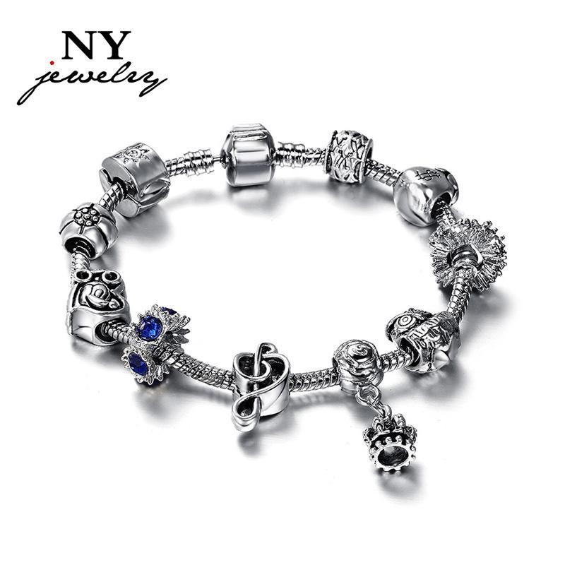 Frete grátis Hot sale charme pulseiras contas de aço inoxidável europeu jóias vintage para mulheres presente de Natal