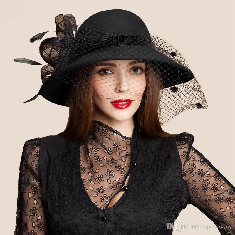 Feutre de laine pour femme Filet à voile floral Plume Église Robe À large bord Derby Chapeau Cocktail Party A322