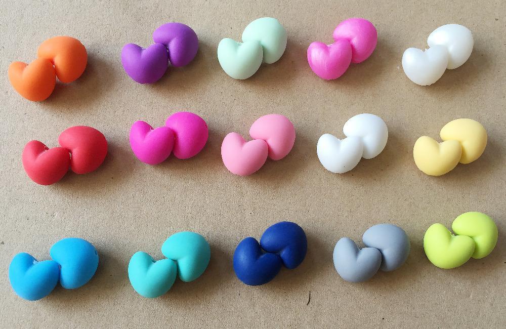 50 حبات سيليكون (قلب عيار 20 ملم) يمكنك اختيار الألوان - التسنين الفضفاض لمضغ المجوهرات حبات التسنين قلادة عضاضة
