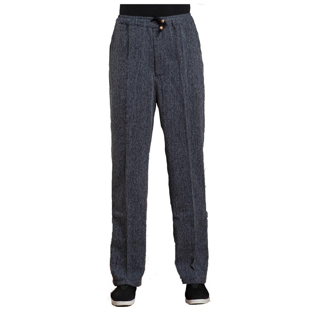 Al por mayor gris oscuro primavera sutumn larga de los hombres de las bragas de algodón de lino Wu Shu Tai Chi pantalones elásticos de la cintura M L XL XXL XXXL WNS031812