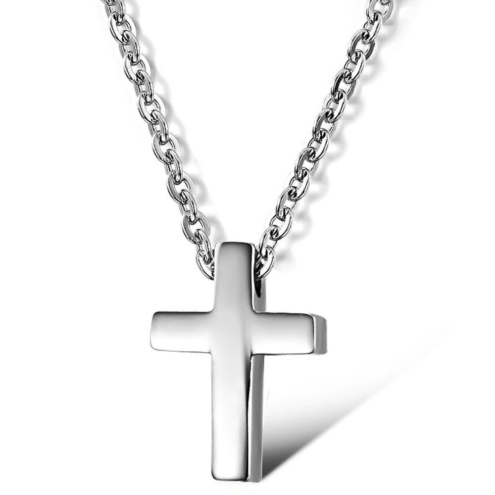 Collier pendentif simple femme en acier inoxydable argent / rose simple petite croix en acier inoxydable avec chaîne de 16 po