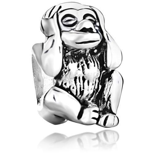 Gepersonaliseerde sieraden horen geen kwaadaardige aap Europese spacer kraal metalen bedelarmband met groot gat pandora chamilia compatibel